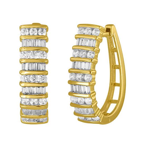 1 CT. T.W. Genuine White Diamond 10K Gold Hoop Earrings