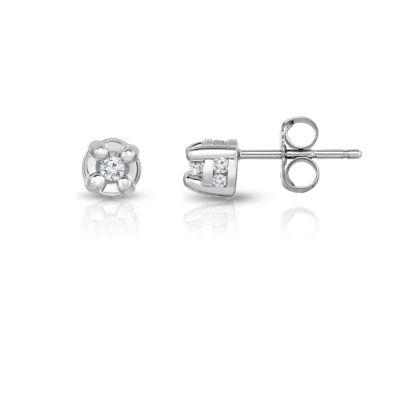 1/6 CT. T.W. Genuine White Diamond 10K Gold Stud Earrings