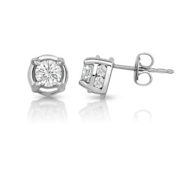 1 1/2 CT. T.W. Round White Diamond 14K Gold Stud Earrings