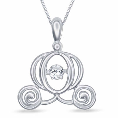 """Enchanted Disney Fine Jewelry Diamond Accent Sterling Silver """"Cinderella"""" Pendant Necklace"""