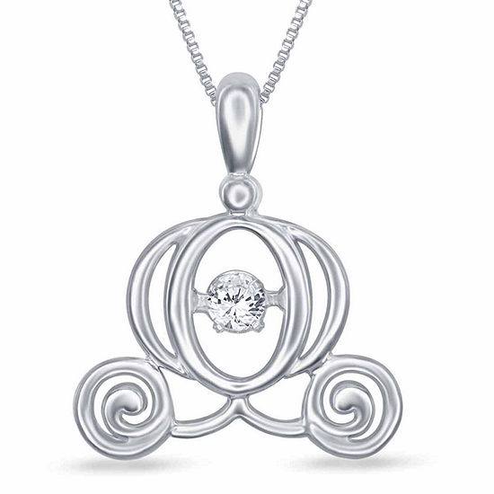 Enchanted Disney Fine Jewelry Diamond Accent Sterling Silver Cinderella Pendant Necklace