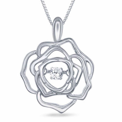 "Enchanted by Disney Diamond Accent Sterling Silver ""Belle"" Rose Pendant Necklace"
