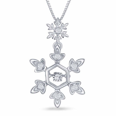 "Enchanted Disney Fine Jewelry 1/10 C.T. T.W. Diamond Sterling Silver ""Frozen"" Snowflake Pendant Necklace"
