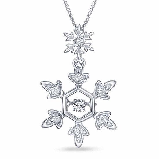 "Enchanted Disney Fine Jewelry 1/10 C.T. T.W. Diamond Sterling Silver ""Frozen"" Snowflake Pendant Necklace"