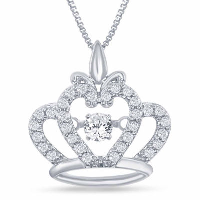 "Enchanted Disney Fine Jewelry 1/4 C.T. T.W. Sterling Silver ""Disney Princess"" Crown Pendant Necklace"