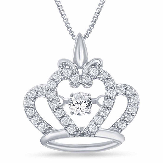 "Enchanted Disney Fine Jewelry 1/4 C.T. T.W. Genuine Diamond Sterling Silver ""Disney Princess"" Crown Pendant Necklace"