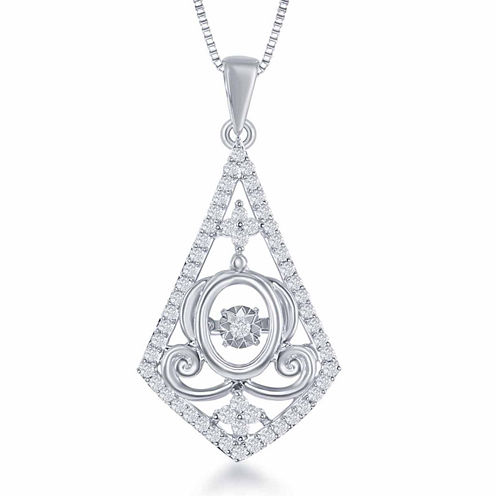 "Enchanted by Disney 1/4 C.T. T.W. Sterling Silver ""Cinderella"" Carriage Drop Pendant Necklace"