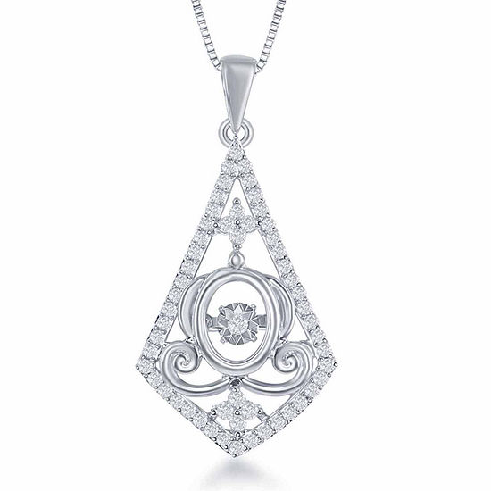 """Enchanted Disney Fine Jewelry 1/4 C.T. T.W. Sterling Silver """"Cinderella"""" Carriage Drop Pendant Necklace"""
