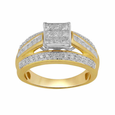 Womens 1 CT. T.W. Genuine White 10K Gold Engagement Ring