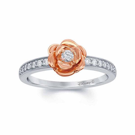 "Enchanted Disney Fine Jewelry 1/5 C.T. T.W. Genuine Diamond 10K White & 10K Rose Gold over Silver ""Belle"" Rose Ring"