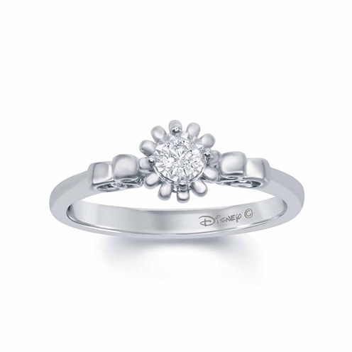"""Enchanted by Disney 1/5 C.T. T.W. Diamond 10K White Gold """"Cinderella"""" Carriage Ring"""