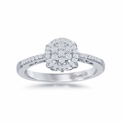 """Enchanted by Disney 1/4 C.T. T.W. Diamond 10K White Gold """"Cinderella"""" Carriage Ring"""