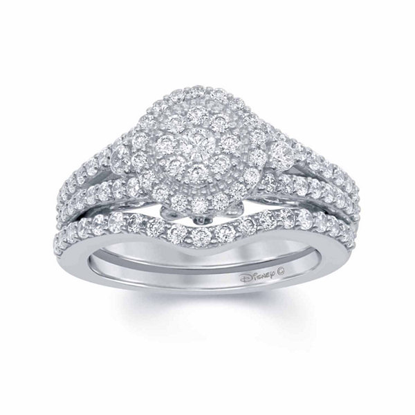 Enchanted Disney Fine Jewelry 1 C.T. T.W. Diamond U0026 Blue Lab Created  Sapphire 14K White Gold