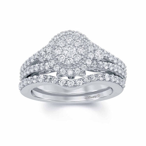 "Enchanted by Disney 1 C.T. T.W. Diamond & Blue Lab Created Sapphire 14K White Gold ""Cinderella"" Bridal Set"