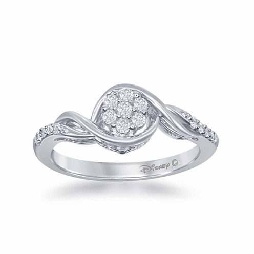 "Enchanted by Disney 1/5 C.T. T.W. Diamond 10K White Gold ""Frozen"" Swirl Ring"
