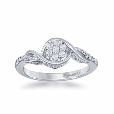 "Enchanted Disney Fine Jewelry 1/5 C.T. T.W. Diamond 10K White Gold ""Frozen"" Swirl Ring"