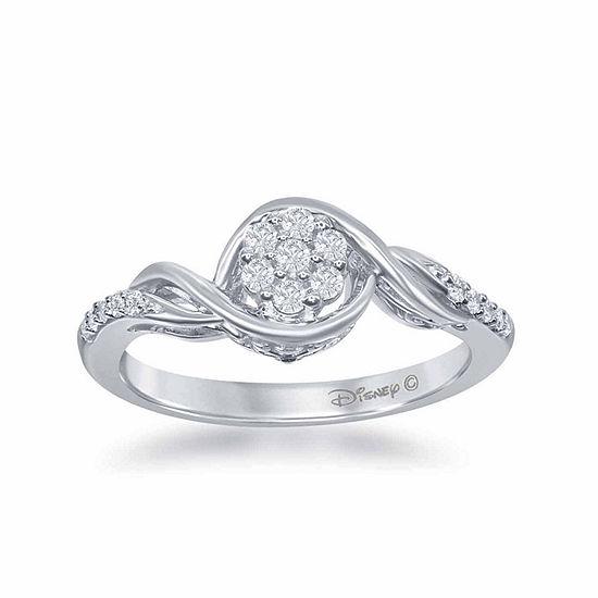 """Enchanted Disney Fine Jewelry 1/5 C.T. T.W. Diamond 10K White Gold """"Frozen"""" Swirl Ring"""