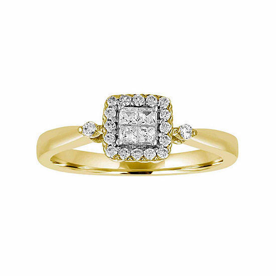 Promise My Love Womens 1/4 CT. T.W. Genuine White Diamond 10K Gold Promise Ring