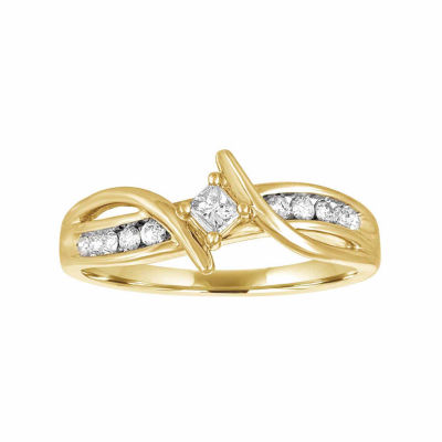 Promise My Love Womens 1/4 CT. T.W. Genuine Princess White Diamond 10K Gold Promise Ring