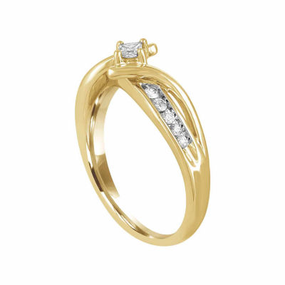 Womens 1/4 CT. T.W. Genuine Princess White Diamond 10K Gold Promise Ring