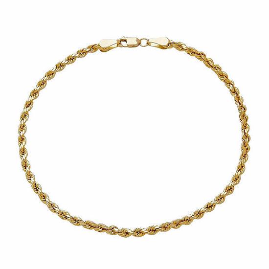 14K Yellow Gold 3mm Rope Chain Bracelet