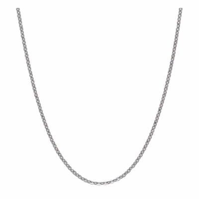 "14K White Gold Polished 18"" Cable Chain Necklace"