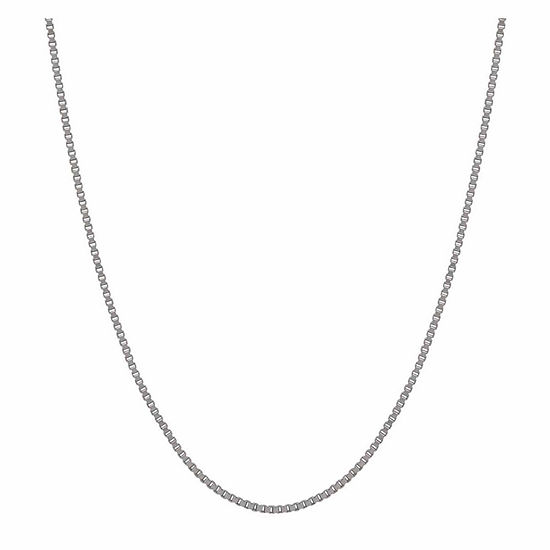 "14K White Gold 1.02mm 24"" Box Chain Necklace"