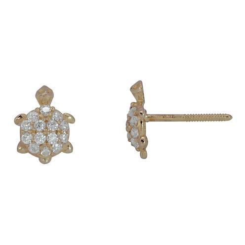 Cubic Zirconia 14K Yellow Gold Turtle Stud Earrings