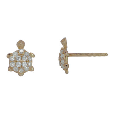 Cubic Zirconia 14K Yellow Gold Turtle Stud Earrings