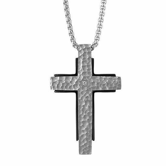 Mens White Diamond Stainless Steel Cross Pendant Necklace