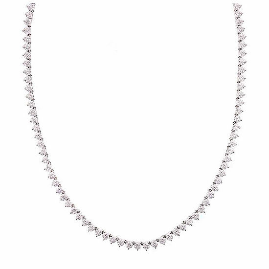 Diamonart Sterling Silver 17 3/8 CT. T.W. Cubic Zirconia Tennis Necklace
