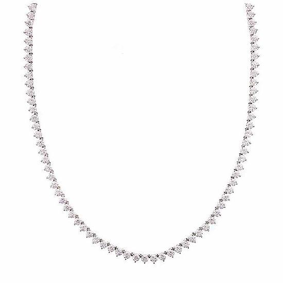 DiamonArt® Sterling Silver 17 3/8 CT. T.W. Cubic Zirconia Tennis Necklace