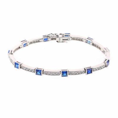 Diamonart Womens 6 CT. T.W. Cubic Zirconia & Simulated Blue Sapphire Tennis Bracelet