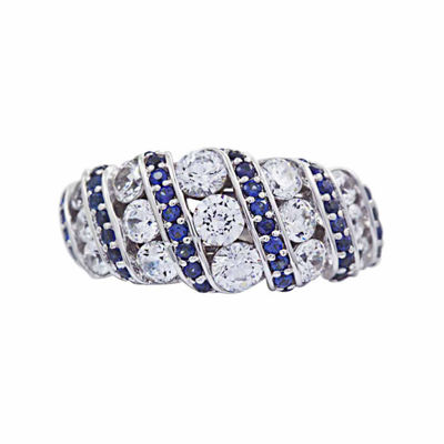 Diamonart Womens White Cubic Zirconia Sterling Silver Cocktail Ring