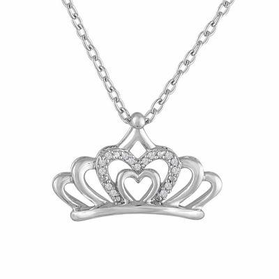 Womens Diamond Accent White Diamond Pendant Necklace