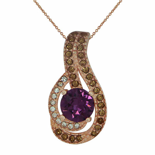 Womens Purple Crystal Gold Over Silver Pendant Necklace