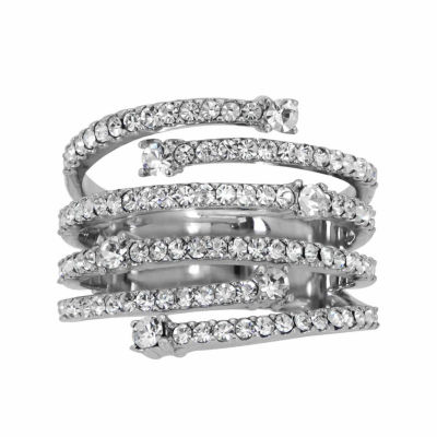 Womens Lab Created White Crystal Sterling Silver Cocktail Ring