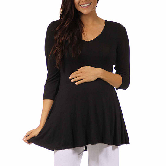 24/7 Comfort Apparel-Plus Maternity Womens Knit Blouse