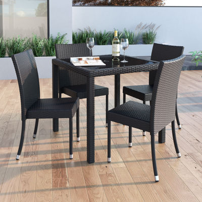 Sonax Park Terrace 5-pc. Patio Dining Set In Charcoal Black Rope Weave