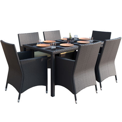 Park Terrace 7-pc. Charcoal Black Weave Patio Dining Set
