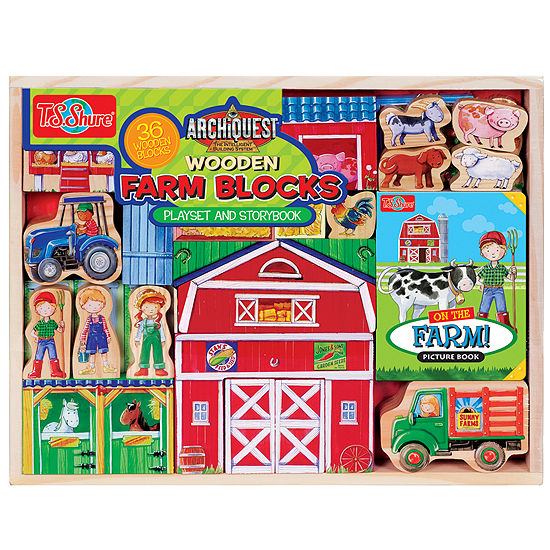 Wooden Farm Blocks Play Set And Book