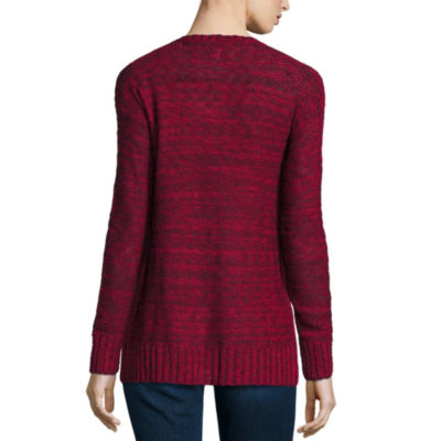 Arizona Marled Side Slit Sweater- Juniors