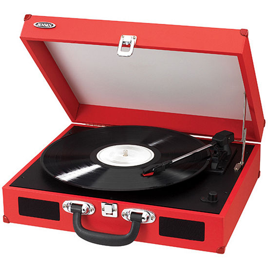 Jensen JTA-410 Portable 3-Speed Stereo Turntable with Built-In Speakers