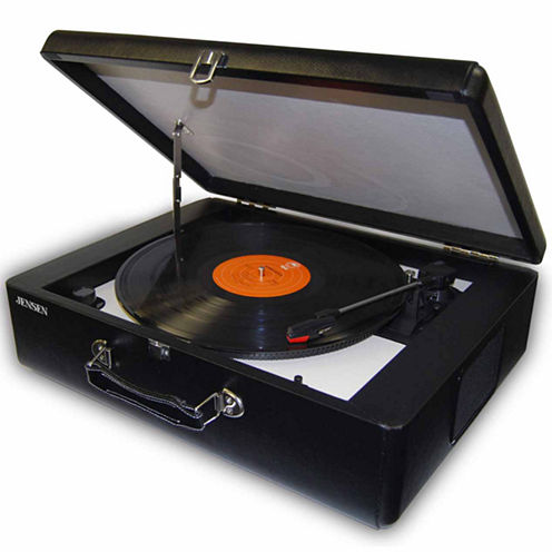 Jensen JTA-420 Portable 3-Speed Stereo Turntable with Built-in Speakers