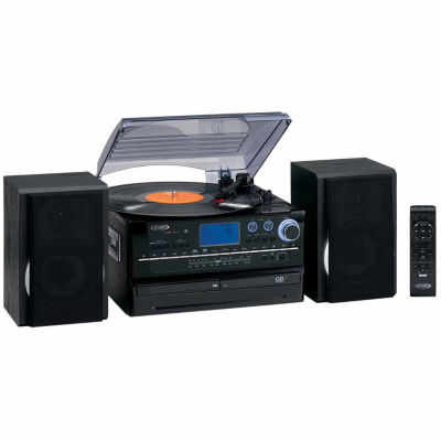 Jensen JTA-980 3-Speed Stereo Turntable 2-CD System with Cassette and AM/FM Stereo Radio