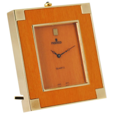 Natico Mini Wood and Brass Desk Clock