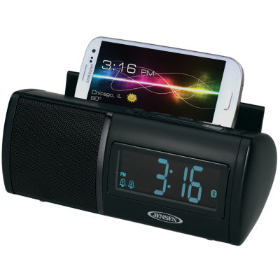 Jensen JBD-100 Universal Bluetooth Clock Radio with Charging for Smartphones