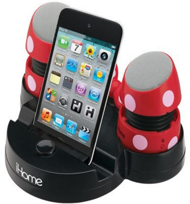 Kiddesigns EK-DM-M79 Minnie Mouse Rechargeable Mini Stereo Speakers with Base for iPods, Laptops and iPhones