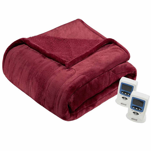 Beautyrest Solid Microlight To Berber Heated Electric Blanket