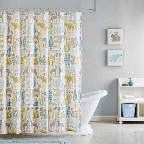 INK+IVY Kids Woodland Cotton Shower Curtain